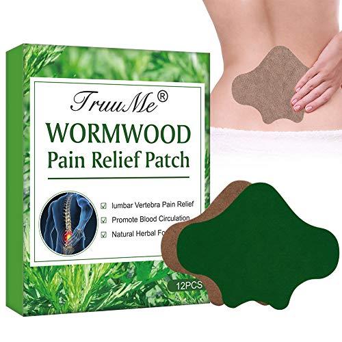 SchmerzlinderungPatch, PainReliefPatch, Wärmepflaster, 12pcs Selbsterhitzender natürlicher Wermutaufkleber, Schmerzlinderungsaufnäher Moxibustion Aufkleber Hexenschuss Schmerz