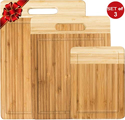 K BASIX Bamboo Cutting Board 3 Piece Set - Made from Premium 100% Organic & Safe Wood - Reversible - Newest Non-Stick Design - FDA Approved & BPA Free Kitchen Chopper with Juice Groove