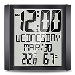 Number-One Slim Calendar Digital Wall Clock with 8.8'' HD TN Large Display, Indoor Digital Temperature & Humidity Display, Full Calendar and Snooze Function for Home Office (Black)