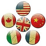 Kühlschrankmagnete Länder Flaggen 6er Deko Geschenk Set Magnete Vintage Fahnen lustig für Weltenbummler stark groß 50mm r& Bunt