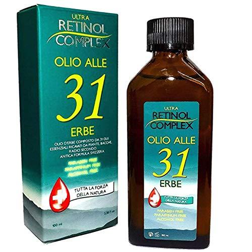 Retinol Complex Olio alle 31 Erbe senza Parabeni, Paraffina e Alcohol utile contro Mal di Testa e dolori al corpo - 100ml
