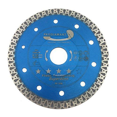 PRODIAMANT Premium Diamant-Trennscheibe Fliese Feinsteinzeug F40 125 mm x 22,2 mm Fliesenscheibe für Winkelschleifer