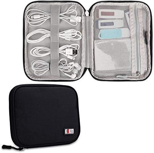 Travel Cable Organizer, BUBM Universal Electronics Bag for Cords, USB, Flash Drive, Power Bank(Small, Black)