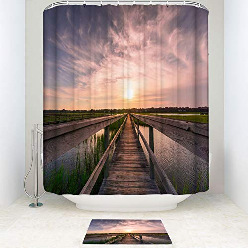 Monstero Island Sunset Shower Curtain Set with Non-Slip Bath Mat Boardwalk Over The Marsh in Pawleys Island in South Curtain Decor Sets with Hooks for Bathroom Showers and Bathtubs 72 X 72