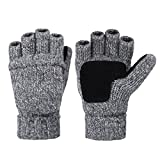 Vbiger Winter Warm Wool Mittens Gloves (Dark Grey)