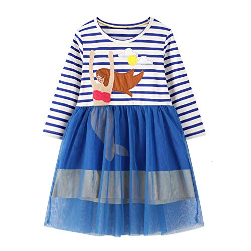 JinBei Vestidos para Niña Sirena Lentejuelas Otoño Manga Larga Algodón Tulle Azul Rayas Camisetas Baratos Casuales Vestidos Ropa Bebé Infantil 2 3 4 5 6 7 años