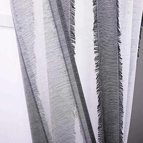 """Fragrantex Stripe Curtains Black and White Sheer Curtains for Bedroom 84 inches Long with Tassels Patterned Curtains Window Treatment Set Rod Pocket 2 Panels,38""""W x 84""""L"""