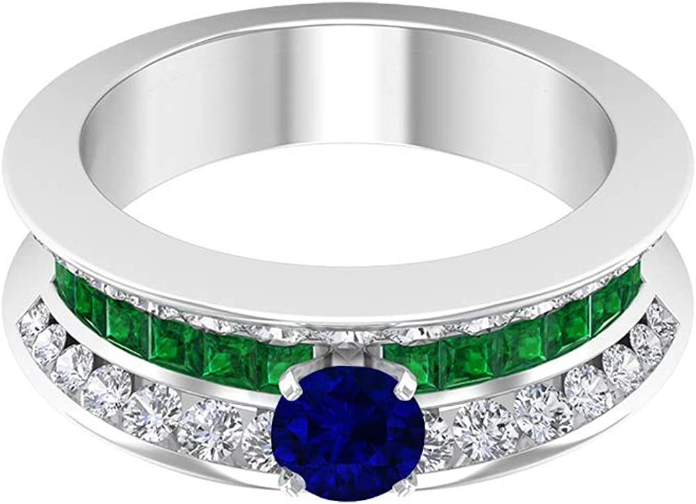 5.00 MM 2021 new Blue Sapphire Solitaire Diffused Diamo and Ring Emerald NEW before selling