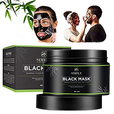 Simply Sublime Black Mask, Activated Bamboo Charcoal Peel Off Face Mask, UK Brand, Blackhead Acne Removal For Men or Women, With Witch Hazel, Clean Skin, 120g