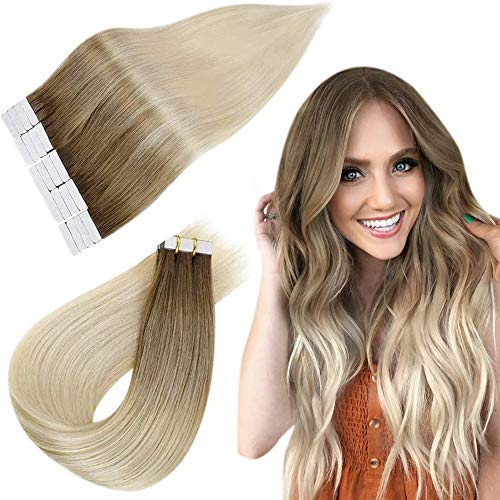 Easyouth Extensions Tape in Echthaar Tape on Extensions Balayage 22zoll Farbe Dunkelbraun Fading to Light Brown mit Yellow Blonde mischen 50g Haare Extension Tape