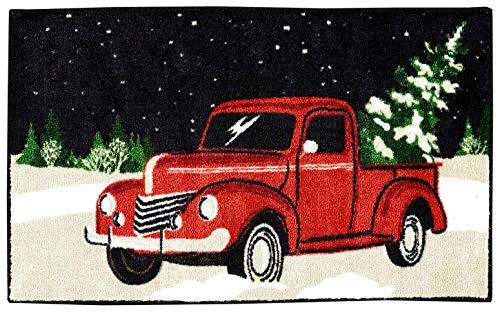 Nourison Christmas Red Truck Bathroom Rug, Retro Holiday Design, Seasonal Plush Polyester Pile Bath Mat, 18 x 30 Inches Rectangle