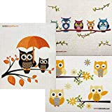 Mixed Owls Set of 3 Cloths (One of Each Design) Swedish Dishcloths | ECO Friendly Absorbent Cleaning Cloth | Reusable Cleaning Wipes