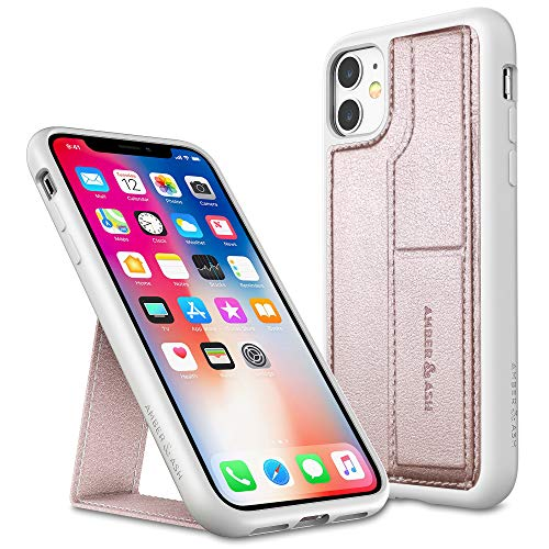 Amber & Ash Strap Stand Case for iPhone 11 (6.1in) - Vertical and Horizontal Stand - Hand Grip - Reinforced Drop Protection - Flexible TPU - Rose Gold
