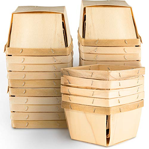"""One Pint Wooden Berry Baskets (25 Pack); for Picking Fruit or Arts, Crafts and Decor; 4"""" Square Vented Wood Boxes"""
