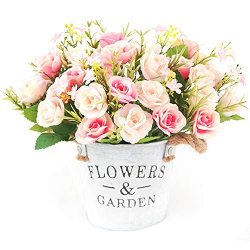 4 Ramos de Rosas Artificiales de Seda Flores Falsas para la Decoració