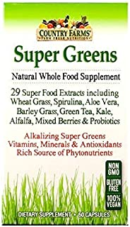Country Farms Super Greens Vegicaps, Whole Food Supplement, 29 Organic Super Foods, 30 servings