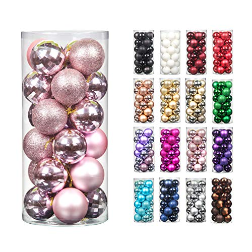 Moonet 24pcs 2.36in Christmas Decoration Balls Shatterproof Color Set Ornaments Balls for Festival Wedding Home Party Decors Xmas Tree Hanging (Pink)