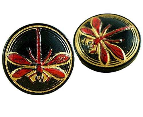 1pc Opaque Black Gold Wash Red Dragonfly Insect Handmade Czech Glass Button Size 8, 18mm