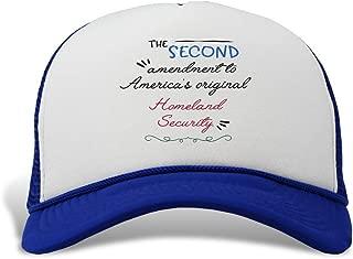 Trucker Hat The Second Amendment America's Original Homeland Security. Polyester Baseball Mesh Cap Snaps Royal Blue One Size
