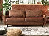 Lisa Design - Dan - Canapé Droit 3 Places Convertible - Style Industriel - avec Coffre de Rangement