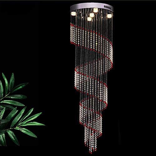 no-branded Sygjal Escalera de Cristal de la lámpara Espiral Rojo lámpara de Techo de la Sala de la lámpara Pendiente al por Mayor de 5 luz 50 * 150cm