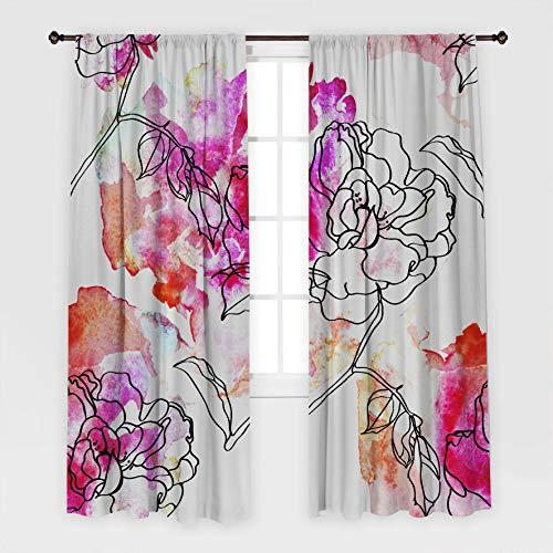 Henge Home Flores patrón jardín Macizo de Flores Ornamental Elegante Elegante Arte Estampado púrpura Cortina Blanca