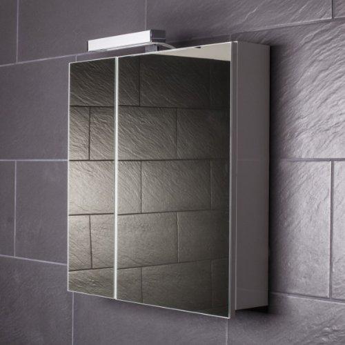 Galdem Spiegelschrank START60 / Spiegelschrank 60 cm / 2 türig/Halogen Beleuchtung/Softclose Funktion/Steckdose/Badezimmer Spiegel auch als Flurspiegel gee