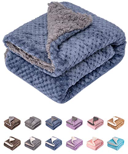 Fuzzy Dog Blanket or Cat Blanket or Pet Blanket, Warm and Soft, Plush Fleece Receiving Blankets for Dog Bed and Cat Bed , Couch, Sofa, Travel and Outdoor, Camping (Blanket (24″ x 32″), DG-Smoked Blue)