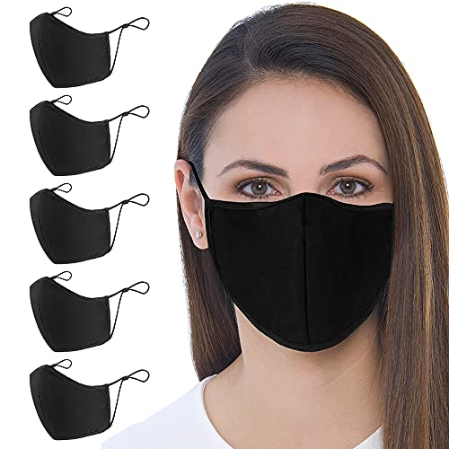 Black Face Mask , 5-Pack Unisex Cloth Washable Reusable Face Cover , Cotton Inner Layer Comfortable & Breathable Black Cloth Mask , Face Masks Adjustable Ear Loops.