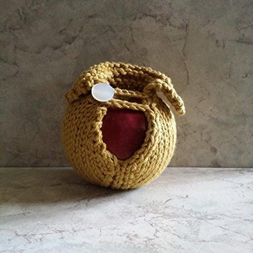 Apple Cozy Hand Knit Cotton 15mm round Button Dijon Mustard