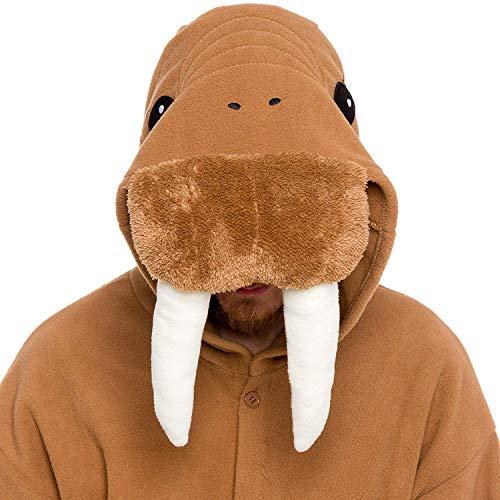 dressfan Animal Overall Walrus nachtwäsche Erwachsene Pyjamas Unisex Polar Fleece Cosplay kostüme Leistung kostüm (Brown)