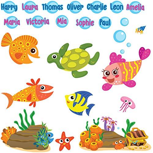 Peces Pegatinas de Pared Burbuja Nombre Calcomanías Art Decoración para Baño Niños