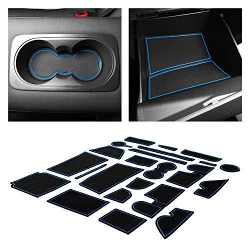 CupHolderHero fits Ford Escape Accessories 2017-2019 Premium Custom Interior Non-Slip Anti Dust Cup Holder Inserts, Center Console Liner Mats, Door Pocket Liners 23-pc Set (Blue Trim)