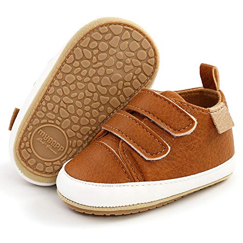 TIMATEGO Infant Baby Boys Girls Sneaker PU Leather Hard Bottom Non Slip Walking Shoes Cartoon Slippers Toddler First Walker Crib Shoes(3-18 Months), 01 Brown, 3-6 Months Infant