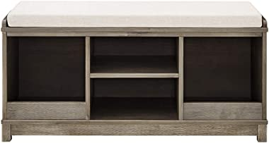 Classic Brands Sam & Jack Kids Solid Wood Bench and 4 Cube Cubby, Weathered Grey