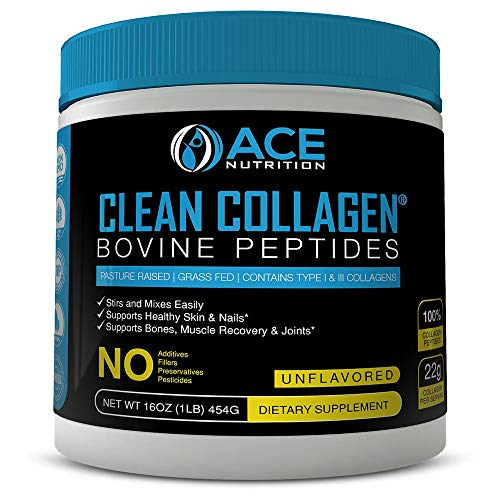 Collagen Peptides By ACE Nutrition  Clean Collagen Powder Bovine Peptides (16oz)  Pasture Raised, Grass Fed, NON-GMO, Gluten Free, Natural Collagen Powder  Unflavored & Easy To Mix, Made In The USA