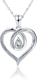 FVELOVE Infinity Heart Pendant Necklace for Women I Love You to The Moon and Back