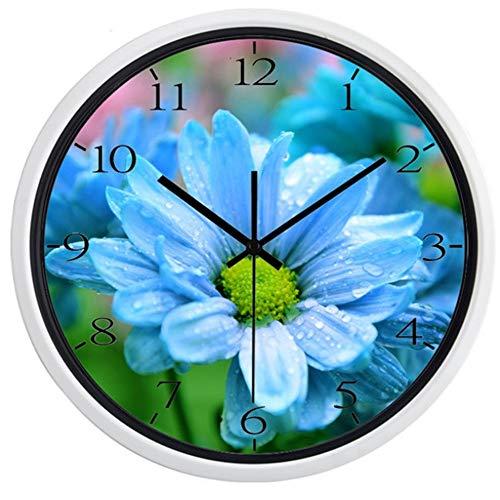 guyuell Européenne Belle Fleur dans La Pluie Horloge Murale Non Sonne Son Extérieur Scène De Qualité Horloge, Un