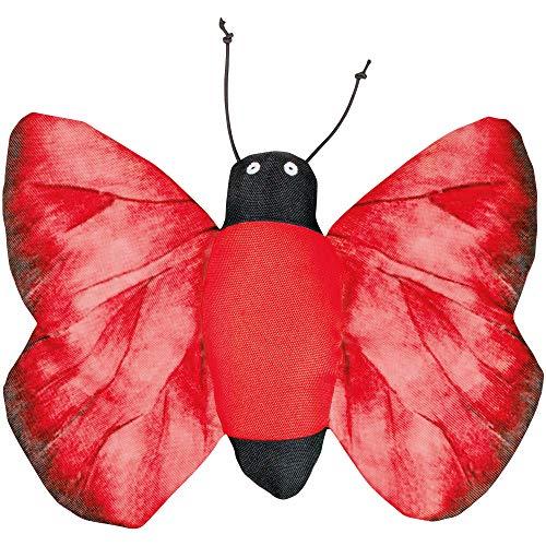 Hundespielzeug roter Schmetterling 28 x 21 cm Riesengroßer Spiel Schmetterling aus weichem Stoff Mit Quietscher und Knister Flügeln