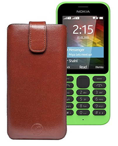Original Favory Etui Tasche für / Nokia 215 Dual SIM / Leder Etui Handytasche Ledertasche Schutzhülle Hülle Hülle Lasche mit Rückzugfunktion* in Braun