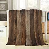 Mugod Wood Plank Throw Blanket Wood Texture with Natural Pattern Background Decorative Soft Warm Cozy Flannel Plush Throws Blankets for Bedding Sofa Couch 60 X 80 Inch