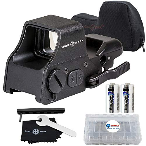 Sightmark Ultra Shot Plus QD Reflex Sight Red and Green Reticle Bundle with 2 Extra Energizer CR123 Batteries and a Lightjuction Battery Case