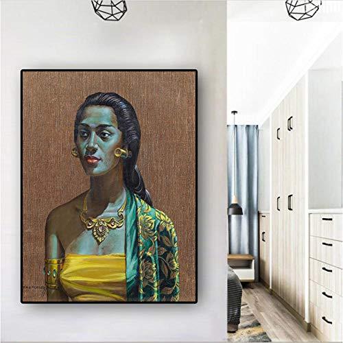 EDGIFT2 Tretchikoff Vintga Balinese Girl Portrait Pintura al óleo sobre Lienzo Carteles e Impresiones Scandinavian Wall Picture for Living Room50x70cm sin Marco
