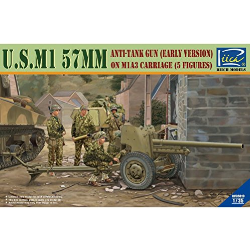 Riich Models rv35019 – Modèle Kit u.s.m1 57 mm Anti Tank Gun Early Version on m1 a3 Carriage avec 5 équipage
