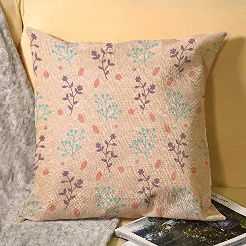 Fundas de almohada de lino decorativas para el hogar, 45,72 x 45,72 cm, diseño floral, color rosa, morado y mimbre.