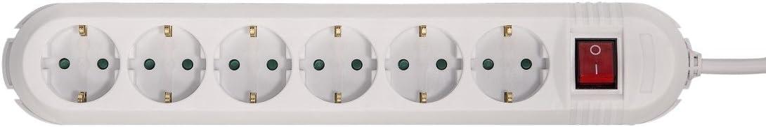Blanc 6 prises, protection contre la surtension, prises tourn/ées /à 90/°, longueur de c/âble de 2 m Hama Bloc Multiprises 90/°