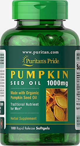 PURITAN'S PRIDE Organic Pumpkin Seed Oil 1000mg, 100 Softgels Capsules, Rapid Release, for Men