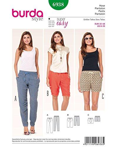 Burda 6938 Schnittmuster Hose, Bermudas und Shorts mit Gummizug (Damen, Gr. 32-46) Level 1 Super Easy