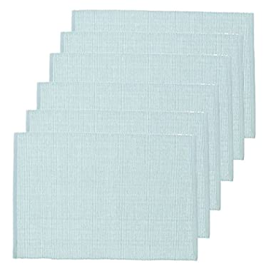C&F Home Ribbed Chambray Aegean Cotton Placemat Set of 6 Rectangular Placemat Set of 6 Aegean Blue