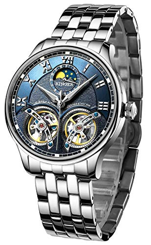 BINGER Men's Skeleton Automatic Mechanical Wrist Watch with Stainless Steel Band (Blue)